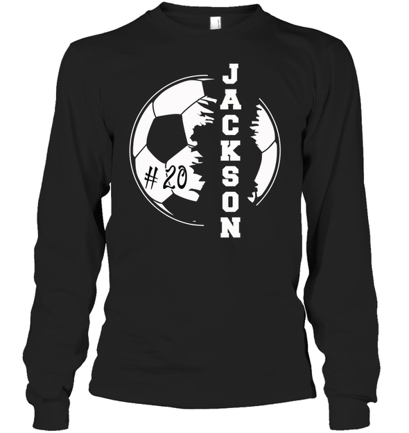 GearLaunch Apparel Unisex Long Sleeve Classic Tee / Black / S Customized Soccer T-shirt with name #193v