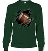 GearLaunch Apparel Unisex Long Sleeve Classic Tee / Forest Green / S Football Ball  Picture custom t shirt design