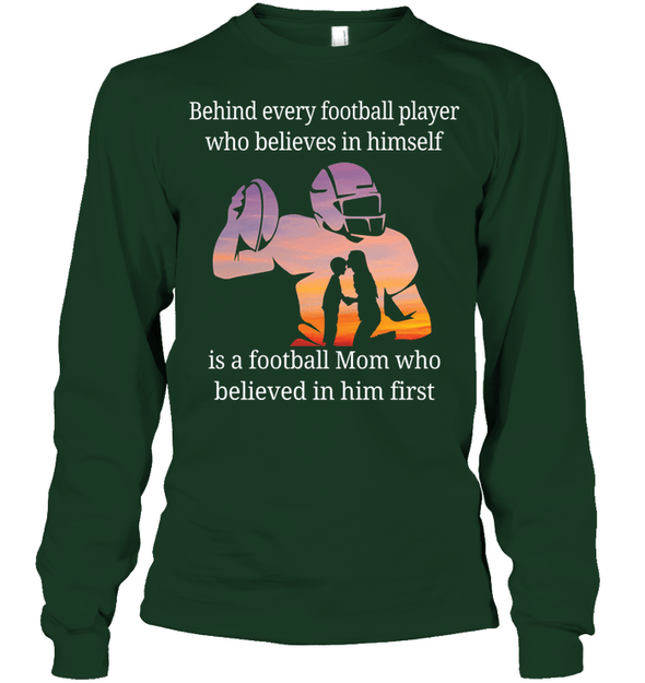 GearLaunch Apparel Unisex Long Sleeve Classic Tee / Forest Green / S Football Believe in him custom t shirt design
