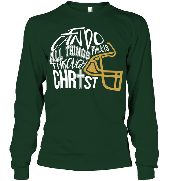 GearLaunch Apparel Unisex Long Sleeve Classic Tee / Forest Green / S Football I can do all things through Christ custom t shirt design