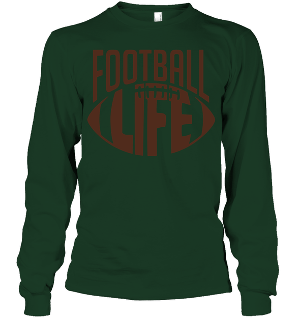 GearLaunch Apparel Unisex Long Sleeve Classic Tee / Forest Green / S Football Life custom t shirt design