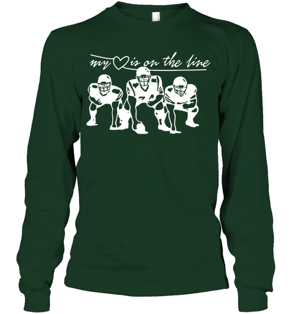 GearLaunch Apparel Unisex Long Sleeve Classic Tee / Forest Green / S Football My love is on the line custom t shirt design