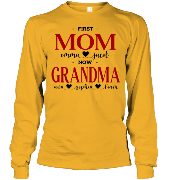 GearLaunch Apparel Unisex Long Sleeve Classic Tee / Gold / S First mom now grandma Mother's day Custom T-shirt with name #0905H