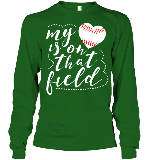 GearLaunch Apparel Unisex Long Sleeve Classic Tee / Irish Green / S Baseball t shirt design My Heart is on that field