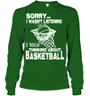 GearLaunch Apparel Unisex Long Sleeve Classic Tee / Irish Green / S Basketball Thinking about basketball custom tshirt design