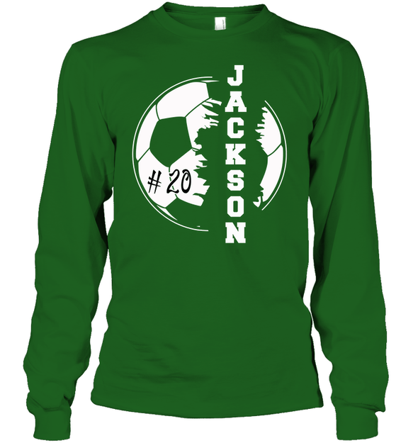 GearLaunch Apparel Unisex Long Sleeve Classic Tee / Irish Green / S Customized Soccer T-shirt with name #193v