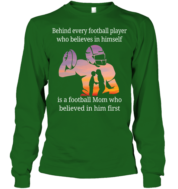 GearLaunch Apparel Unisex Long Sleeve Classic Tee / Irish Green / S Football Believe in him custom t shirt design