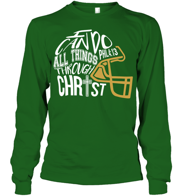 GearLaunch Apparel Unisex Long Sleeve Classic Tee / Irish Green / S Football I can do all things through Christ custom t shirt design
