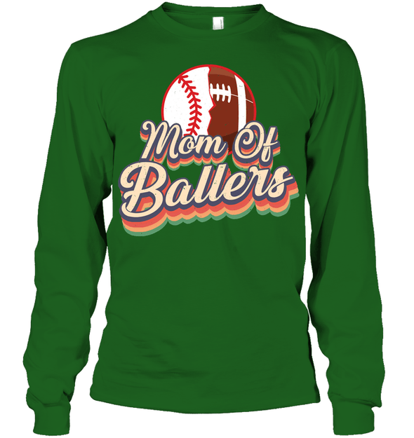 GearLaunch Apparel Unisex Long Sleeve Classic Tee / Irish Green / S Football t shirt design Mom Of Ballers