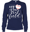 GearLaunch Apparel Unisex Long Sleeve Classic Tee / Navy / S Baseball t shirt design My Heart is on that field