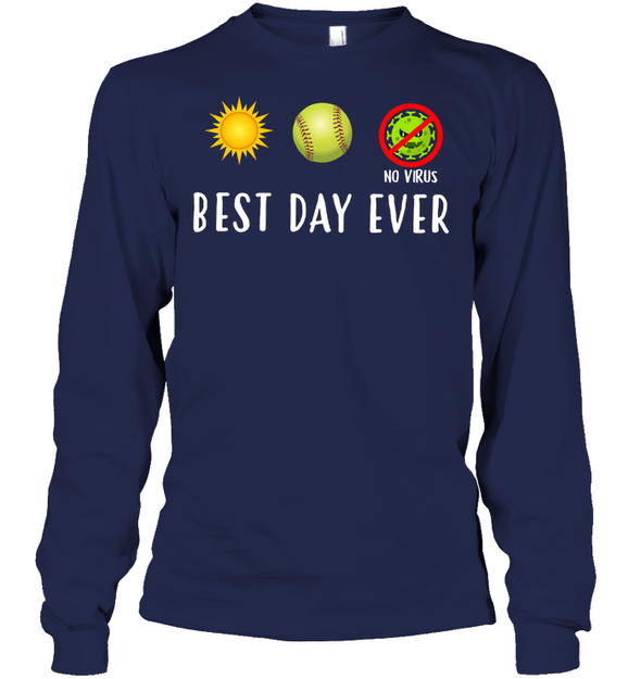 GearLaunch Apparel Unisex Long Sleeve Classic Tee / Navy / S Best day ever Softball T-shirt