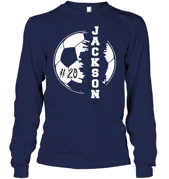 GearLaunch Apparel Unisex Long Sleeve Classic Tee / Navy / S Customized Soccer T-shirt with name #193v