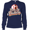 GearLaunch Apparel Unisex Long Sleeve Classic Tee / Navy / S Football t shirt design Mom Of Ballers