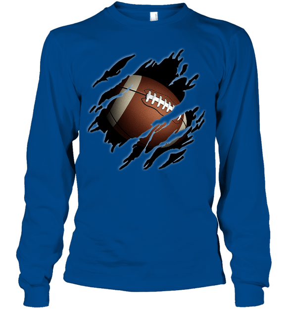 GearLaunch Apparel Unisex Long Sleeve Classic Tee / Royal / S Football Ball  Picture custom t shirt design