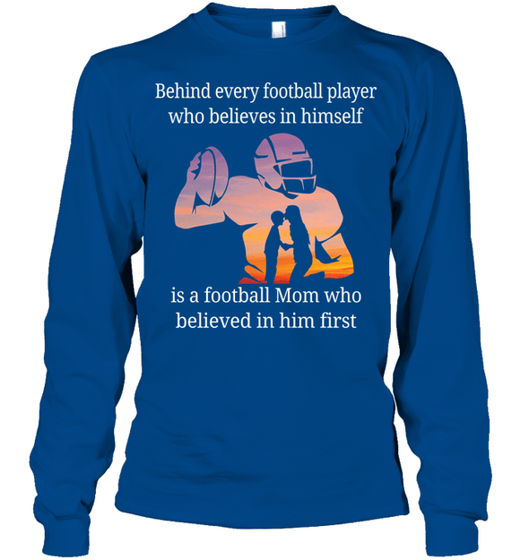 GearLaunch Apparel Unisex Long Sleeve Classic Tee / Royal / S Football Believe in him custom t shirt design