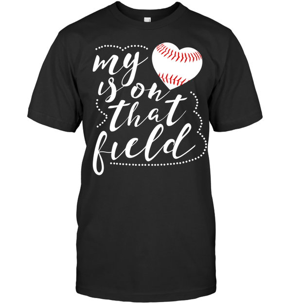 GearLaunch Apparel Unisex Short Sleeve Classic Tee / Black / S Baseball t shirt design My Heart is on that field