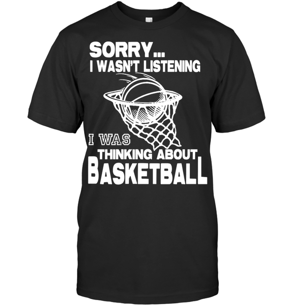 GearLaunch Apparel Unisex Short Sleeve Classic Tee / Black / S Basketball Thinking about basketball custom tshirt design