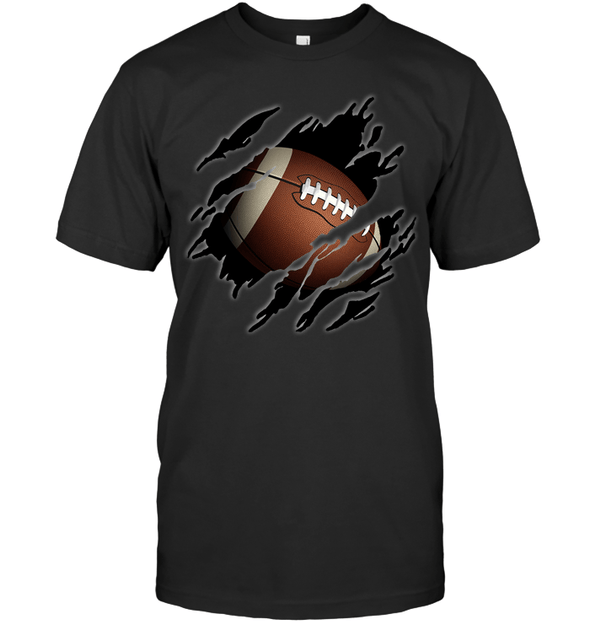 GearLaunch Apparel Unisex Short Sleeve Classic Tee / Black / S Football Ball  Picture custom t shirt design