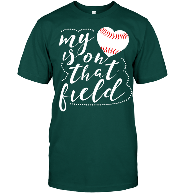 GearLaunch Apparel Unisex Short Sleeve Classic Tee / Deep Forest / S Baseball t shirt design My Heart is on that field