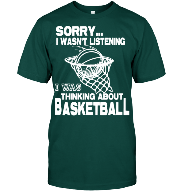 GearLaunch Apparel Unisex Short Sleeve Classic Tee / Deep Forest / S Basketball Thinking about basketball custom tshirt design