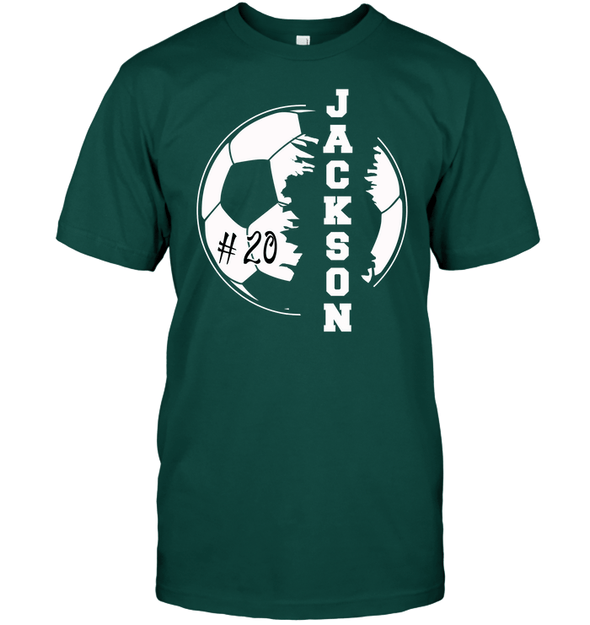 GearLaunch Apparel Unisex Short Sleeve Classic Tee / Deep Forest / S Customized Soccer T-shirt with name #193v