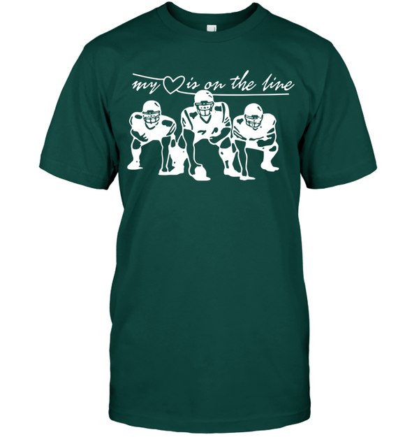 GearLaunch Apparel Unisex Short Sleeve Classic Tee / Deep Forest / S Football My love is on the line custom t shirt design