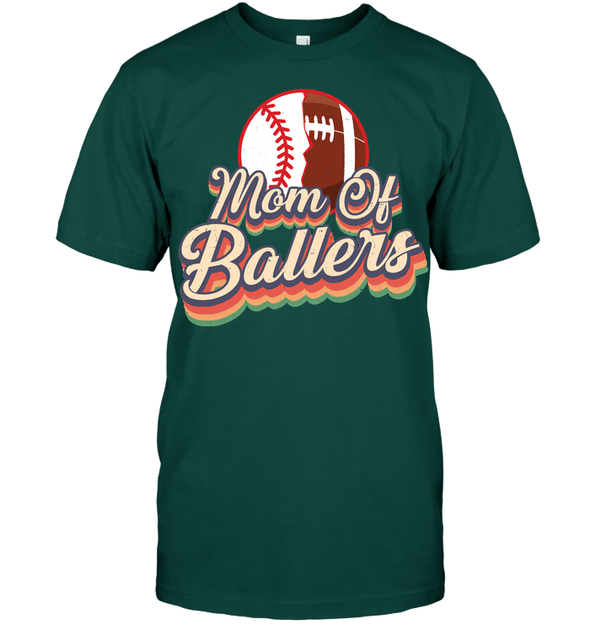 GearLaunch Apparel Unisex Short Sleeve Classic Tee / Deep Forest / S Football t shirt design Mom Of Ballers