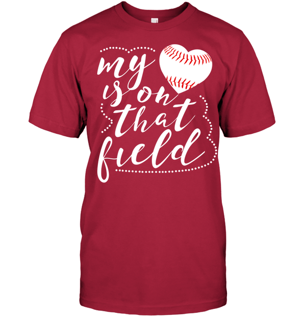 GearLaunch Apparel Unisex Short Sleeve Classic Tee / Deep Red / S Baseball t shirt design My Heart is on that field