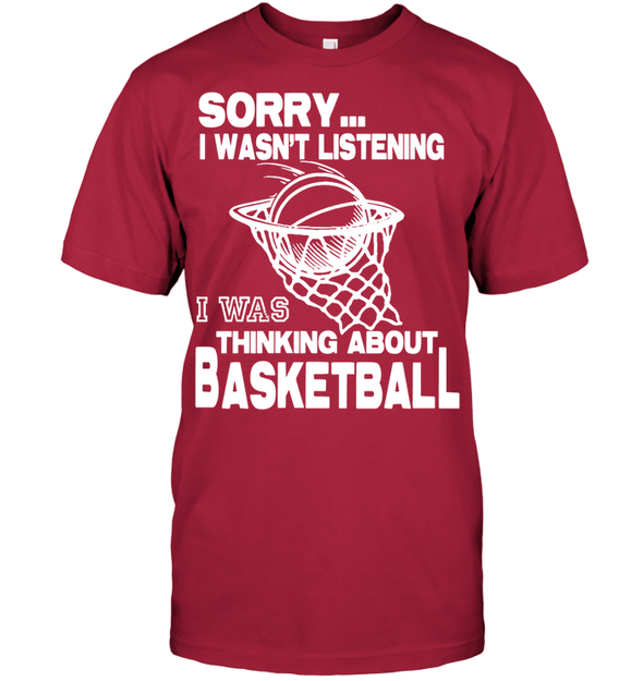 GearLaunch Apparel Unisex Short Sleeve Classic Tee / Deep Red / S Basketball Thinking about basketball custom tshirt design