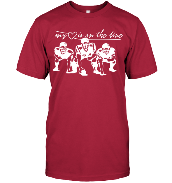 GearLaunch Apparel Unisex Short Sleeve Classic Tee / Deep Red / S Football My love is on the line custom t shirt design
