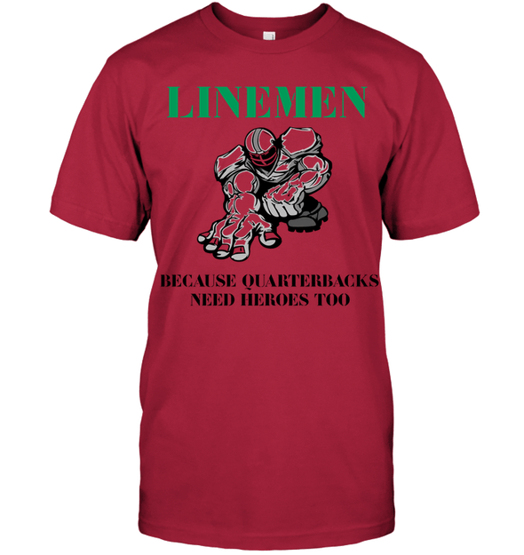 GearLaunch Apparel Unisex Short Sleeve Classic Tee / Deep Red / S Football Quarterbacks need  heroes custom t shirt design