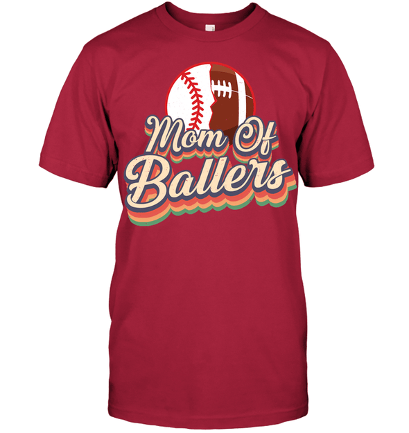 GearLaunch Apparel Unisex Short Sleeve Classic Tee / Deep Red / S Football t shirt design Mom Of Ballers