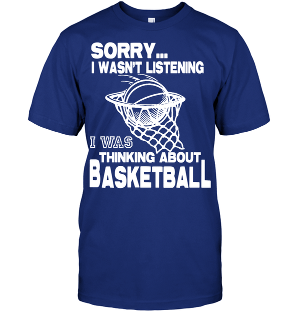 GearLaunch Apparel Unisex Short Sleeve Classic Tee / Deep Royal / S Basketball Thinking about basketball custom tshirt design