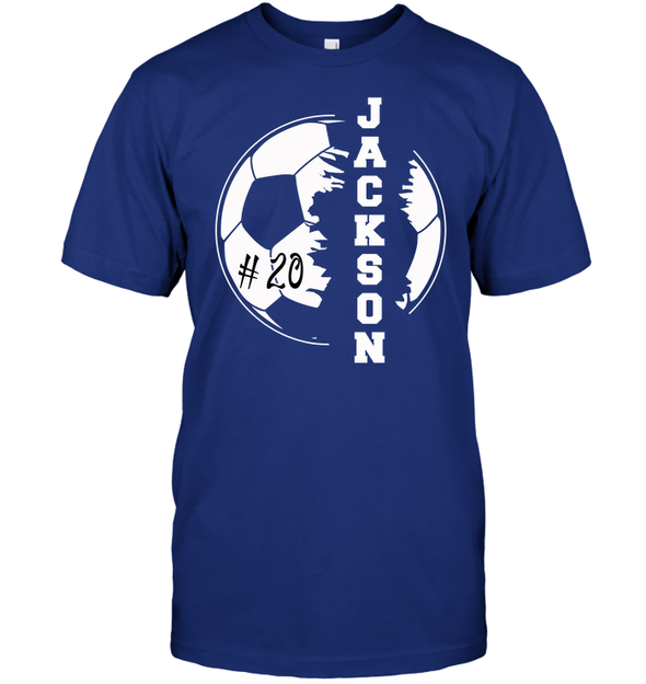 GearLaunch Apparel Unisex Short Sleeve Classic Tee / Deep Royal / S Customized Soccer T-shirt with name #193v
