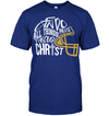 GearLaunch Apparel Unisex Short Sleeve Classic Tee / Deep Royal / S Football I can do all things through Christ custom t shirt design