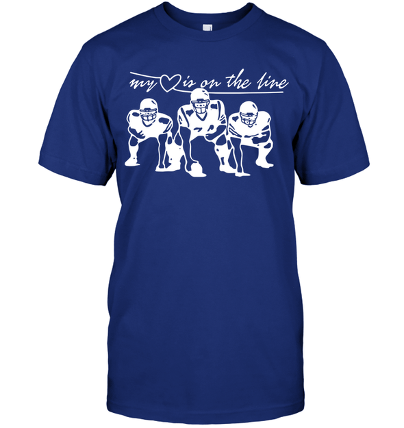 GearLaunch Apparel Unisex Short Sleeve Classic Tee / Deep Royal / S Football My love is on the line custom t shirt design