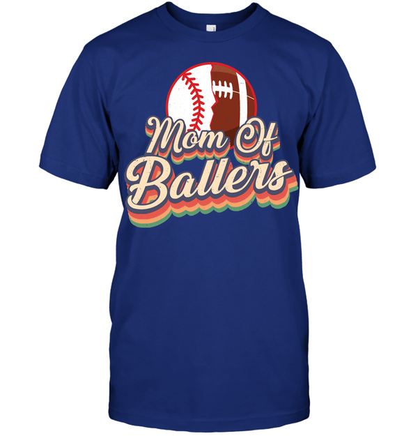GearLaunch Apparel Unisex Short Sleeve Classic Tee / Deep Royal / S Football t shirt design Mom Of Ballers
