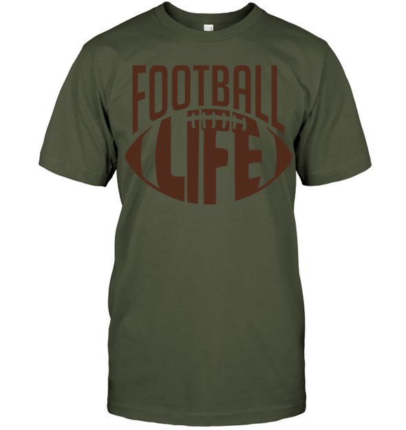 GearLaunch Apparel Unisex Short Sleeve Classic Tee / Fatigue Green / S Football Life custom t shirt design