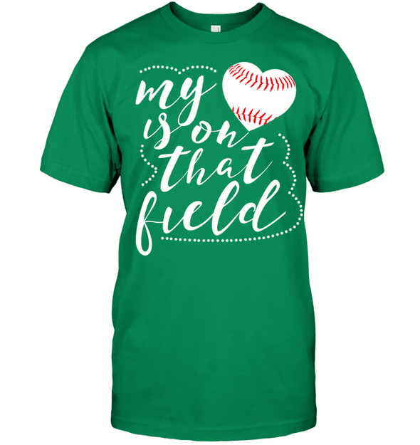 GearLaunch Apparel Unisex Short Sleeve Classic Tee / Kelly Green / S Baseball t shirt design My Heart is on that field