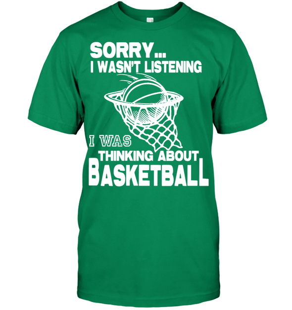GearLaunch Apparel Unisex Short Sleeve Classic Tee / Kelly Green / S Basketball Thinking about basketball custom tshirt design