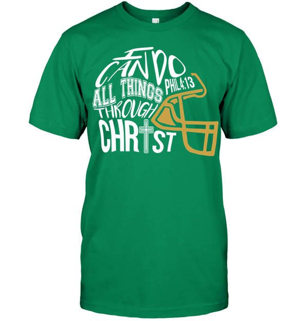 GearLaunch Apparel Unisex Short Sleeve Classic Tee / Kelly Green / S Football I can do all things through Christ custom t shirt design