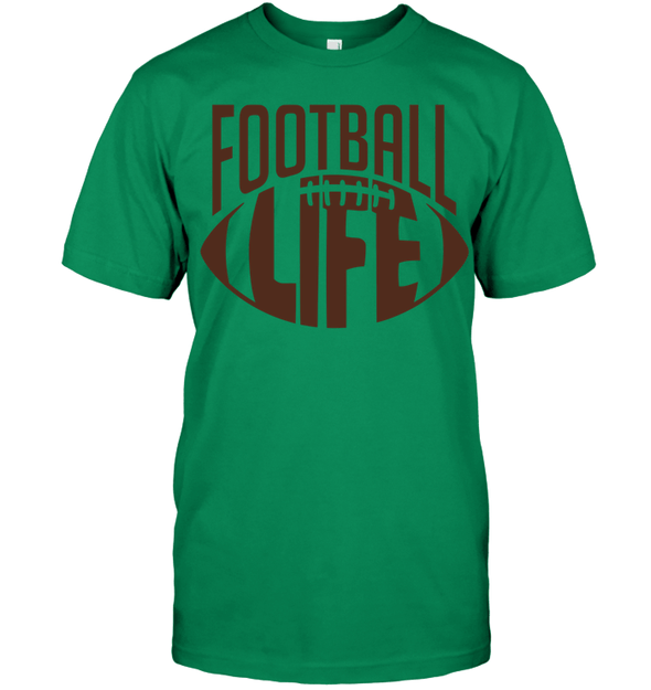 GearLaunch Apparel Unisex Short Sleeve Classic Tee / Kelly Green / S Football Life custom t shirt design
