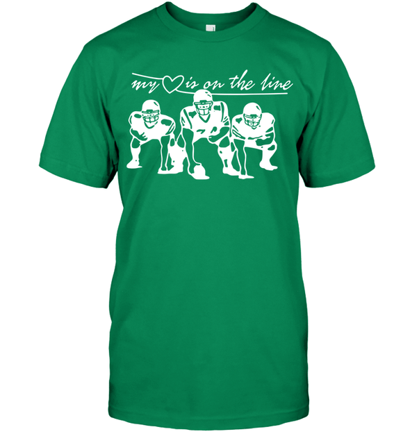 GearLaunch Apparel Unisex Short Sleeve Classic Tee / Kelly Green / S Football My love is on the line custom t shirt design