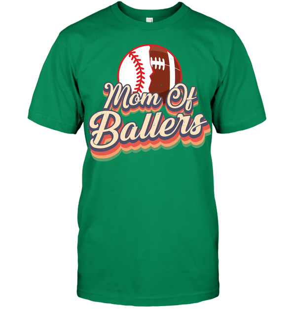GearLaunch Apparel Unisex Short Sleeve Classic Tee / Kelly Green / S Football t shirt design Mom Of Ballers