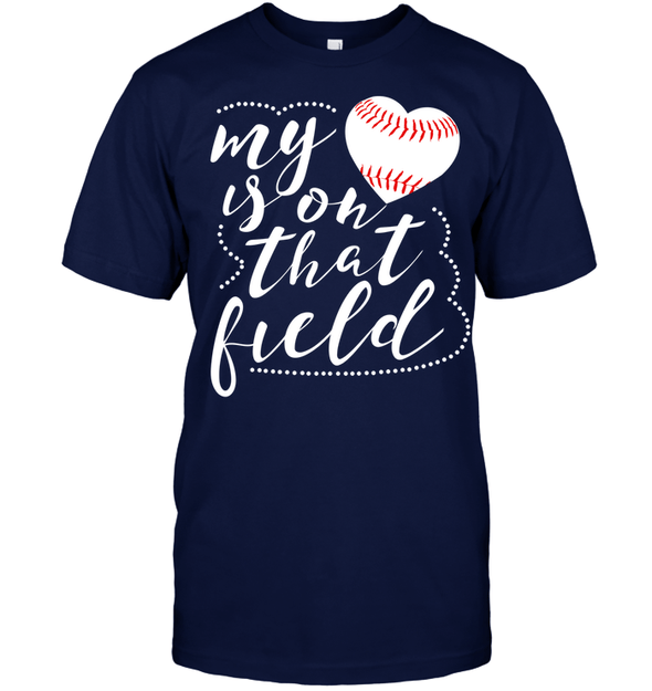 GearLaunch Apparel Unisex Short Sleeve Classic Tee / Navy / S Baseball t shirt design My Heart is on that field