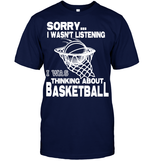 GearLaunch Apparel Unisex Short Sleeve Classic Tee / Navy / S Basketball Thinking about basketball custom tshirt design