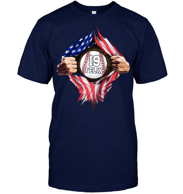 GearLaunch Apparel Unisex Short Sleeve Classic Tee / Navy / S Customized Baseball Flag T-shirt with name #164v