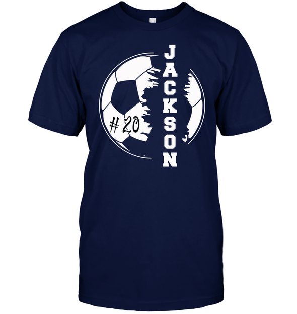 GearLaunch Apparel Unisex Short Sleeve Classic Tee / Navy / S Customized Soccer T-shirt with name #193v