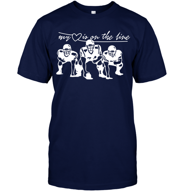 GearLaunch Apparel Unisex Short Sleeve Classic Tee / Navy / S Football My love is on the line custom t shirt design
