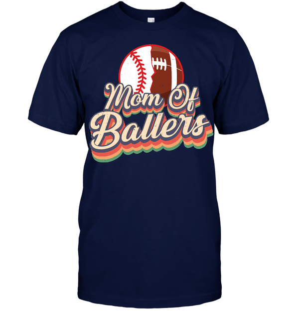 GearLaunch Apparel Unisex Short Sleeve Classic Tee / Navy / S Football t shirt design Mom Of Ballers